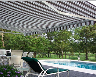 retractable awnings provide backyard shading where you need it